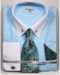 Daniel Ellissa Men's French Cuff Shirt Set - Accented Tie