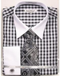 Daniel Ellissa Men's French Cuff Shirt Set - Tiled Jacquard Tie