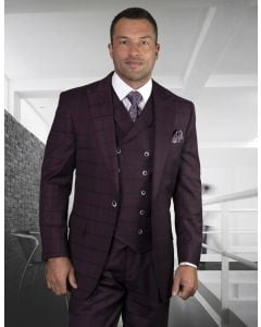 Statement Men's Outlet 100% Wool 3 Piece Suit - Tone on Tone Windowpane