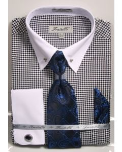 Fratello Men's 100% Cotton French Cuff Dress Shirt Set - Varied Patterns w/ Collar Bar
