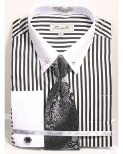 Fratello Men's 100% Cotton French Cuff Dress Shirt Set - Black/White