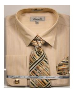 Fratello Men's Outlet French Cuff Dress Shirt Set - Tone on Tone Shirt