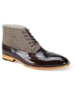 Giovanni Men's Leather Dress Boot - Wool Tweed and Leather