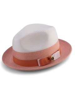 Montique Men's Fedora Style Straw Hat - Triple Tone