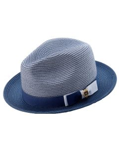 Montique Men's Fedora Style Straw Hat - Tone on Tone
