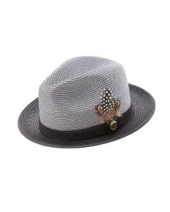 Montique Men's Fedora Style Straw Hat - Weave Pattern