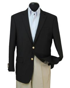 Loriano Men's Wool Blend Single Breasted Blazer - Gold Buttons
