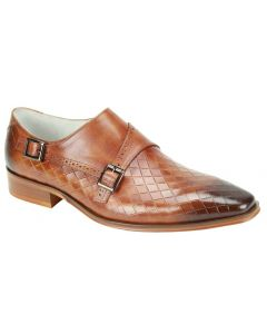 Giovanni Men's Leather Dress Shoe - Fashion Pattern and Buckle