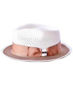 Steven Land Men's Straw Fedora Hat - Pear Shaped Crown