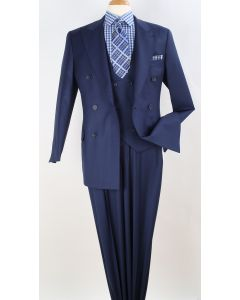 Apollo King Men's 3pc 100% Worsted Wool Suit - Double Breasted