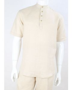 Apollo King Men's Outlet Short Sleeve Linen Walking Suit - Banded Collar