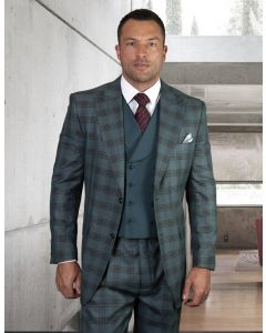 Statement Men's 100% Wool 3 Piece Suit - Triple Windowpane
