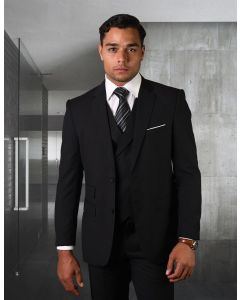Statement Men's Outlet 3 Piece 100% Wool Suit - Solid Color