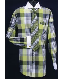Fratello Men's Outlet French Cuff Dress Shirt Set - Colorful Multi Checker