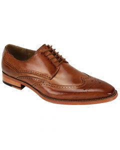 Giovanni Men's Leather Dress Shoe - Winged Tip Perforations
