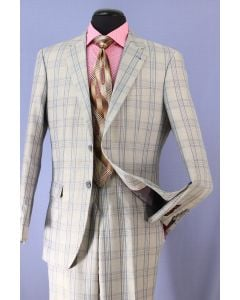 Loriano Men's 2 Piece Wool Blend Executive Suit - Checker