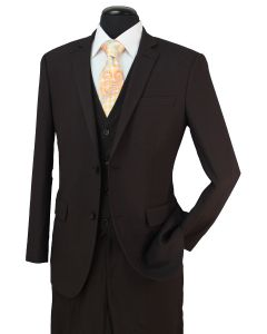 Loriano Men's Outlet 3 Piece Wool Blend Suit - Mini Textured Pattern