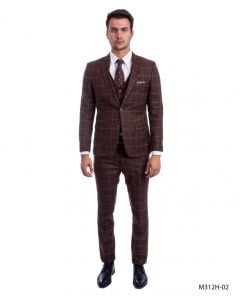 Sean Alexander Men's 3 Piece Executive Suit - Windowpane