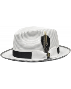Steven Land Men's Straw Fedora Hat - Two Tone Band