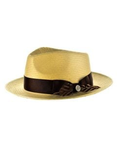 Steven Land Men's Straw Fedora Hat - Unique Feather
