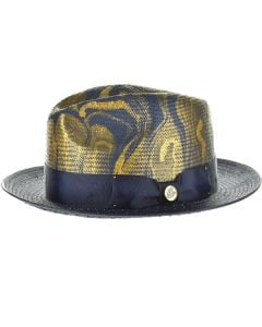 Steven Land Men's Straw Fedora Hat - Fluid Color Design