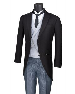 Vinci Men's 3 Piece Tuxedo with Tails - Striped Pants