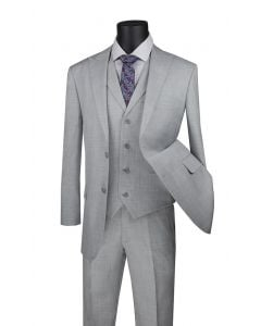 Vinci Men's Outlet 3 Piece Modern Fit Suit - Fancy Vest