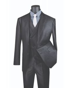 Vinci Men's 3 Piece Modern Fit Suit - Slanted Fashion Vest