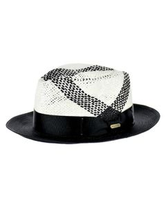 Steven Land Men's Straw Fedora Hat - Cross Crown Design