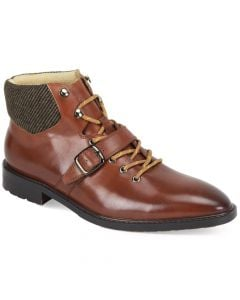 Giovanni Men's Leather Dress Boot - Buckle Strap