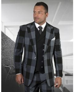 Statement Men's 100% Wool 3 Piece Suit - Smooth Plaid
