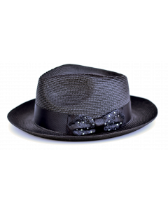 Steven Land Men's Straw Fedora Hat - Polka Dot Bow