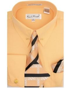 Karl Knox Men's French Cuff Shirt Set - Two Tone Tie