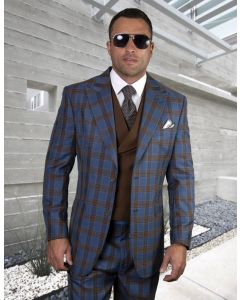 Statement Men's 100% Wool 3 Piece Suit - Two Tone