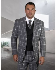 Statement Men's 100% Wool 3 Piece Suit - Light Windowpane