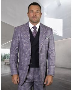 Statement Men's 100% Wool 3 Piece Suit - Fashion Windowpane