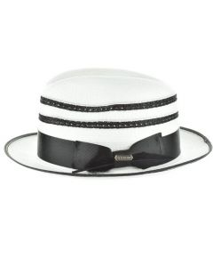 Steven Land Men's Straw Fedora Hat - Double Stripe