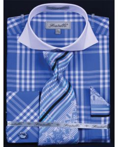 Fratello Men's Outlet French Cuff Dress Shirt Set - Deep Checker