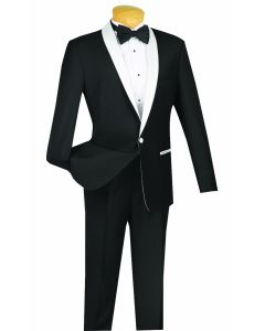 Vinci Men's 2 Piece Slim Fit Suit - Tuxedo Style