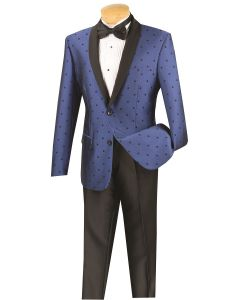 Vinci Men's 2 Piece Slim Fit Suit - Fancy Polka Dot
