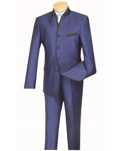Vinci Men's 2 Piece Slim Fit Nehru Suit - Sharkskin