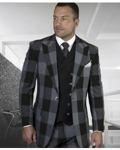 Statement Men's Outlet 100% Wool 3 Piece Suit - Smooth Plaid