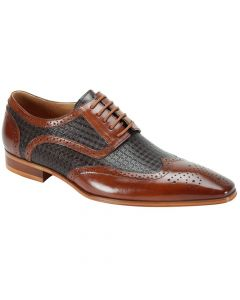 Steven Land Men's Leather Outlet Dress Shoe - Geometric with Winged Tip