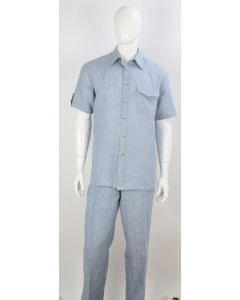 Apollo King Men's 2pc Short Sleeve Linen Walking Suit - Chest Pockets