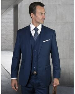 Statement Men's Outlet 3 Piece 100% Wool Suit - Tailored Fit