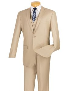 Vinci Men's 3 Piece Slim Fit Executive Style Suit - Flat Front Pants