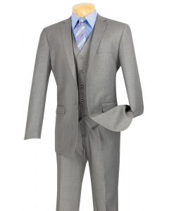 Vinci Men's Outlet 3 Piece Slim Fit Executive Style Suit - Flat Front Pants