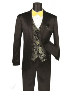 Vinci Men's 3 Piece Sateen Slim Fit Suit - Fashion Vest