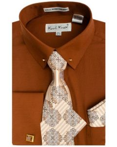 Karl Knox Men's French Cuff Shirt Set - Sharp Collar Bar
