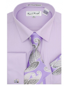 Karl Knox Men's French Cuff Shirt Set - Gradient Jacquard